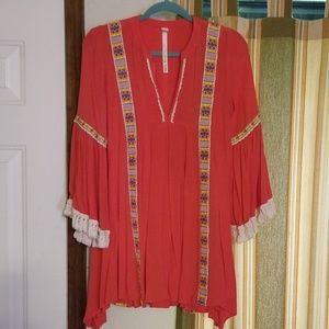 Uncle Frank bell-sleeve top, coral crepe.